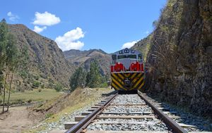 The high road in the Andes - taking a ride on Tintin's train.