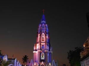 St Mary's Basilica, Bangalore – Glowing on Christmas eve