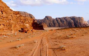 Walking in the moon in the land of Martian in Wadi Rum, Jordan